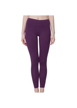 Celodoro Damen Leggings, stretchige Jersey Hose aus Baumwolle - Lila