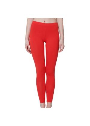 Celodoro Damen Leggings, stretchige Jersey Hose aus Baumwolle - Rot