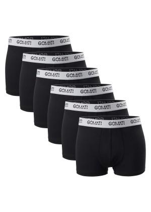 Gomati Herren Cotton Pants mit Logo (6er Pack), Retro Boxershorts aus Baumwoll-Stretch - Black