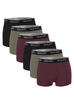 Gomati Herren Cotton Pants mit Logo (6er Pack), Retro Boxershorts aus Baumwoll-Stretch - Street