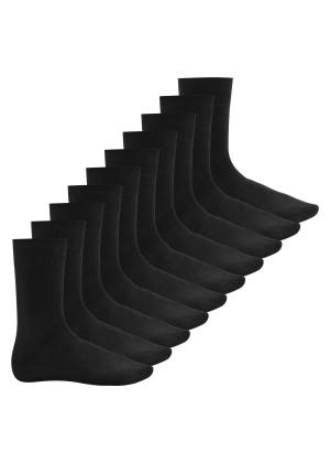 Footstar Herren Baumwollsocken (10 Paar), handgekettelte flache Spitze - Everyday! - Schwarz
