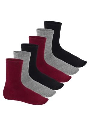 Feine Wollsocken - Business Socken für Damen und Herren - 6 Paar - schwarz/grau/bordeaux