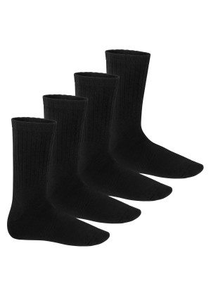Footstar Herren & Damen Wollsocken (4 Paar) Warme Winter Socken mit Thermo Effekt - Schwarz