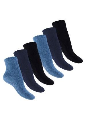 Footstar Damen & Herren Plüschsocken (6 Paar), Warme Kuschel Socken - Jeans