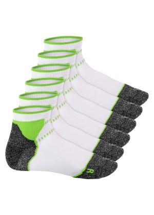 Footstar Damen & Herren Funktions Sport Socken (6 Paar), Gepolsterte Laufsocken - Weiss-Grün