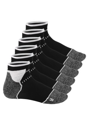 Footstar Sport Function Running Socks - 6 Paar Sportsocken - schwarz-weiss