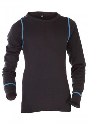 CFLEX POLARDRY Kinder Thermo Langarm Hemd für Mädchen und Jungen Schwarz/Blau