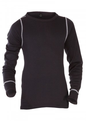 CFLEX POLARDRY Kinder Thermo Langarm Hemd für Mädchen und Jungen Schwarz/Grau