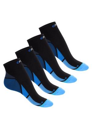 CFLEX Herren & Damen Sport Kompressionssocke (4 Paar), Kurzschaft Socken - Schwarz-Blau