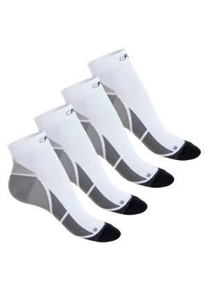 CFLEX Herren & Damen Sport Kompressionssocke (4 Paar), Kurzschaft Socken - Weiss-Grau