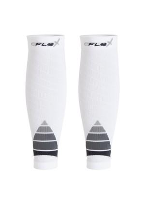 CFLEX Herren & Damen Sport Kompressions Stulpe (2 Paar), Wadenbandage - Weiss-Grau