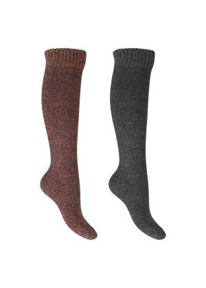 Footstar Damen Frottee Kniestrümpfe (2 Paar), warme Baumwollsocken mit Thermo-Effekt - Orange-Grau