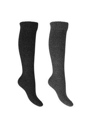 Footstar Damen Frottee Kniestrümpfe (2 Paar), warme Baumwollsocken mit Thermo-Effekt - Anthra-Grau