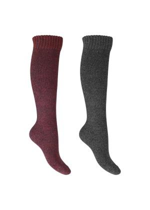 Footstar Damen Frottee Kniestrümpfe (2 Paar), warme Baumwollsocken mit Thermo-Effekt - Rot-Grau