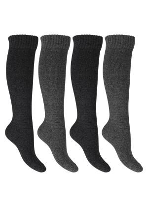 Footstar Damen Frottee Kniestrümpfe (4 Paar), warme Baumwollsocken mit Thermo-Effekt - Anthra-Grau