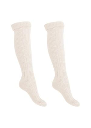 2 Paar Trachten Kniestrümpfe mit Umschlag, Socken für Damen und Herren von celodoro® in Wollweiß Gr. 35-46