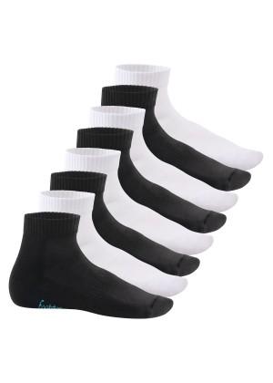 Footstar Damen & Herren Kurzschaft Socken mit Frottee-Sohle (8 Paar) - Sneak it! - Schwarz-Weiß-Mix