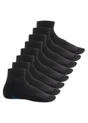 Footstar Damen & Herren Kurzschaft Socken mit Frottee-Sohle (8 Paar) - Sneak it! - Schwarz