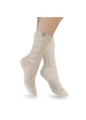 2 Paar - Trachten Socken mit Edelweiß-Pin - beige