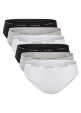 Celodoro Damen Slip (6er Pack) Bikini-Slip mit schmalem Ziergummi und Schriftzug - Classic Mix
