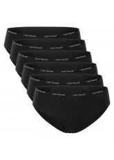 Celodoro Damen Slip (6er Pack) Bikini-Slip mit schmalem Ziergummi und Schriftzug - Schwarz