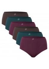 Celodoro Damen Taillenslip (6er Pack) Microfaser-Slip mit Stickerei - Herbstfarben