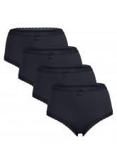 Celodoro Damen Eco Taillenslip aus Modal (4er Pack), Maxi-Slip mit Spitze und Schleife - Schwarz