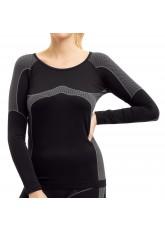 Damen Thermo Funktionsshirt Langarm schwarz/grau