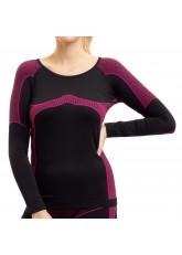 Damen Thermo Funktionsshirt Langarm schwarz/pink