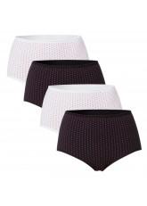 4 Damen Komfort Taillenslips - Weiss-Schwarz