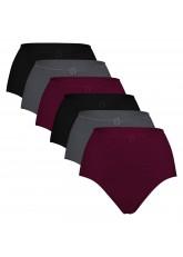 6er Pack Damen Slip Taillenslip weich und sanft - auch für große Größen - Dark Mix