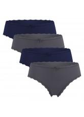 4 Süße Damen Slips in verschiedenen Farben und Mustern - Navy-Anthra