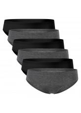 Celodoro Damen Lasercut Hipster Slip (6er Pack), Nahtlose Panty - Schwarz-Grau