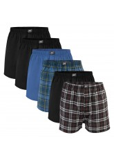 MT Herren Web Boxershorts (6er Pack) American Boxer gewebt aus Baumwolle - Schwarz-Blau