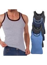 MT Herren Melange Tank Top (5er Pack), Baumwoll Feinripp Unterhemd ohne Arm - 5farb-Pack mit Blau