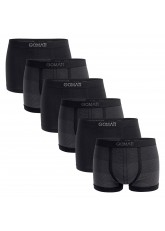 Gomati Herren Seamless Pants (6er Pack), Nahtlose Boxershorts aus Microfaser-Elasthan - Grau Dark Mix
