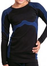 Gomati Langes Kinder Funktions-Hemd Seamless schwarz/blau
