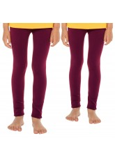 Celodoro Kinder Thermo Leggings (2 Stück) - warme Unterhose lang mit Innenfleece - Beere