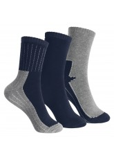 Footstar 3 Paar Kinder Thermo Frottee-Socken - Marine