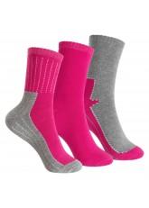 Footstar Kinder Frottee-Socken mit Motiv (3 Paar), Warme Socken mit Thermoeffekt - Pink