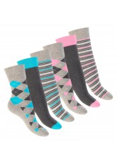 Footstar Damen Wintersocken (6 Paar), Warme Vollfrottee Socken mit Thermo Effekt - Kariert