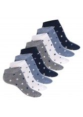Footstar Damen Motiv Sneaker Socken (8 Paar), Kurze süße Söckchen mit Mustern - Jeans