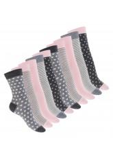 10 Paar süße Damen Socken - Pastell Mix