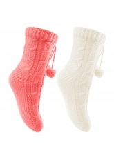 2 Paar Damen Kuschel-Strick-Socken Ecru-Koralle