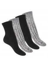 Footstar Damen Kuschel Socken (4 Paar), Warme und flauschige Soft Socken - Schwarz