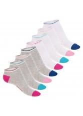 Footstar Damen Motiv Sneaker Socken (8 Paar), Kurze süße Söckchen mit Mustern - Grau-Bunt