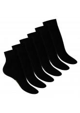 Footstar Damen Bambus Kurzschaft Socken (6 Paar), Quarter Socken aus nachhaltiger Viskose - Schwarz