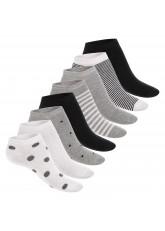 Footstar Damen Motiv Sneaker Socken (8 Paar), Kurze süße Söckchen mit Mustern - Schwarze Streifen