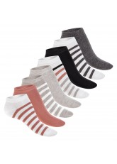Footstar Damen Motiv Sneaker Socken (8 Paar), Kurze süße Söckchen mit Mustern - Bunte Streifen