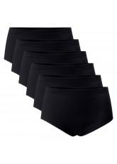 Celodoro Damen Taillenslip (6er Pack), Maxi-Slip ohne Seitennähte - Schwarz